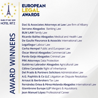 Award-winners of the European Legal Awards 2019